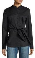Tibi Satin Poplin Tie-Front Shirt, Black