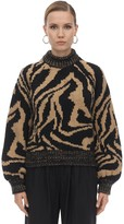 Ganni Zebra Intarsia Wool Blend Sweater
