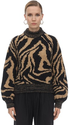 Ganni Zebra Intarsia Wool Blend Sweater
