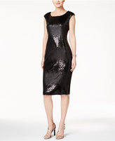 Connected Two-Tone Sequined Sheath Dress
