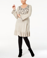 Style&Co. Style & Co Plus Size Embroidered Ruffled Sweater Dress, Created for Macy's