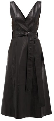 Petar Petrov Awel V-neck Belted Leather Dress - Black
