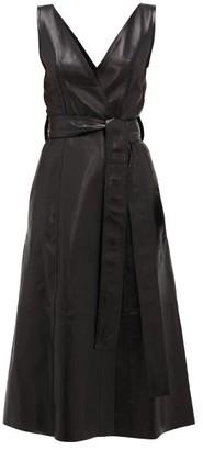 Petar Petrov Awel V-neck Belted Leather Dress - Womens - Black