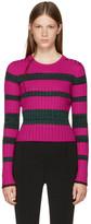Proenza Schouler Pink & Green Striped Crewneck Pullover
