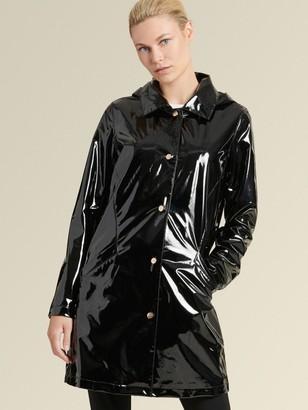 DKNY Donna Karan Women's Glossy Raincoat - Black - Size S