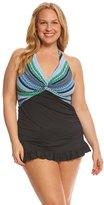Jantzen Plus Size Geo Graphic Stripe Halter Swim Dress 8156706