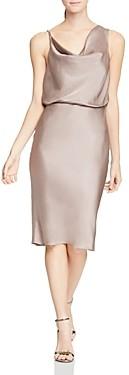 Halston Cowl Neck Satin Dress