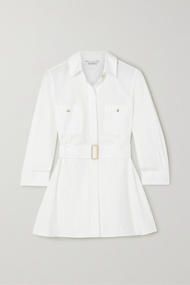 Max Mara Marche Belted Pleated Cotton-poplin Shirt - White