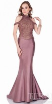Terani Couture Cold Shoulder Mikado Beaded Evening Dress
