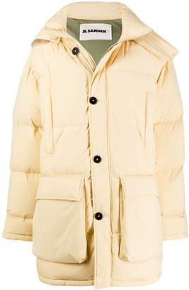 Jil Sander detachable fur collar puffer jacket