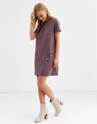 Brave Soul bree check shift dress with pockets-Red