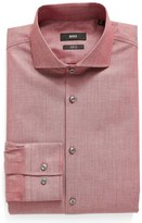 BOSS Men's Slim Fit Houndstooth Stretch Dress Shirt