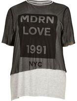 River Island Womens Plus grey mesh print T-shirt