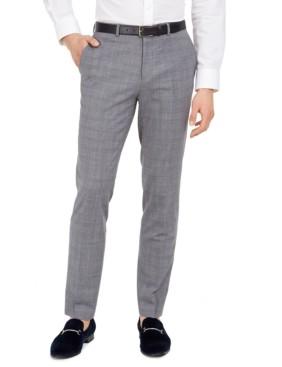 HUGO Boss Men's Extra-Slim Fit Mid Blue Plaid Suit Separate Pants