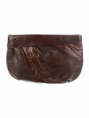 Salvatore Ferragamo Python-Trimmed Leather Clutch Brown