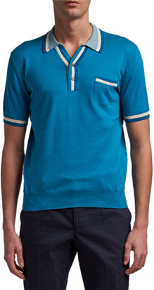 Etro Men's Cotton-Cashmere Knit Stripe Polo Shirt