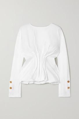 A.W.A.K.E. Mode Gathered Cotton-blend Poplin Blouse - White