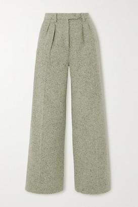 ALEXACHUNG Pleated Wool-blend Wide-leg Pants - Sage green