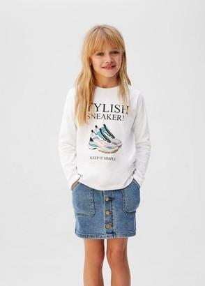 MANGO Rhinestones printed t-shirt
