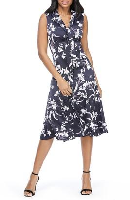 Maggy London Floral Print Tie Neck Satin A-Line Dress