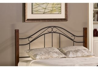 Copper Grove Baiersdorf Metal and Wood Headboard with Rails