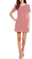 Copper Key Striped Lace-Up Back Sheath Dress