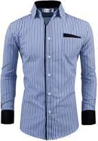 Tom's Ware Mens Classic Slim Fit Vertical Striped Longsleeve Dress Shirt TWCS16-S