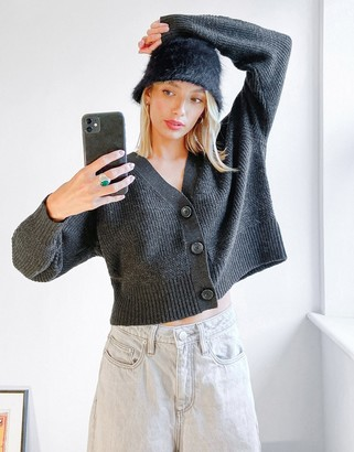 aerie cropped cardi in grey