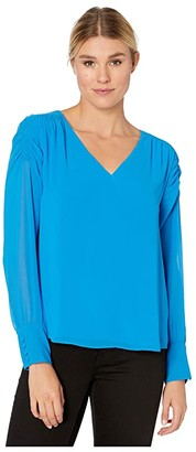 Vince Camuto Long Sleeve Smocked Sleeve Shoulder V-Neck Chiffon Blouse (Peacock) Women's Blouse