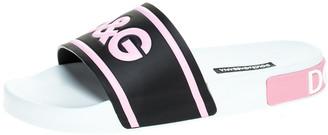 Dolce & Gabbana Black/Pink Rubber I Love Flat Slides Size 37