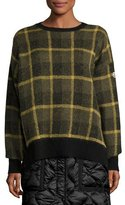 Moncler Plaid Wool-Blend Pullover Sweater, Green