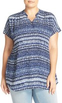 Sejour Plus Size Women's Short Sleeve Georgette Tunic
