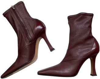 Celine Madame Burgundy Leather Ankle boots