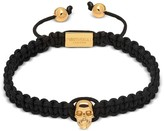 Northskull Atticus Skull Macrame Bracelet In Black And Yellow Gold