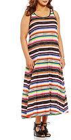 Lauren Ralph Lauren Plus Striped Jersey Racerback Maxi Lounge Dress