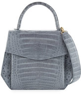 Nancy Gonzalez Crocodile Large Structured Top-Handle Bag, Gray Shiny