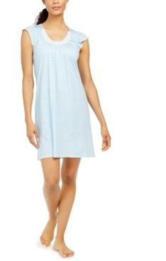 Miss Elaine Lace-Trim Floral-Print Nightgown