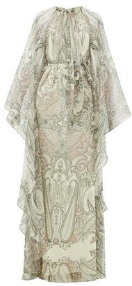 Etro Paisley-print Cape-sleeve Silk-blend Maxi Dress - Womens - White Black