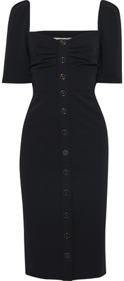 Veronica Beard Trace Button-embellished Ruched Cady Dress