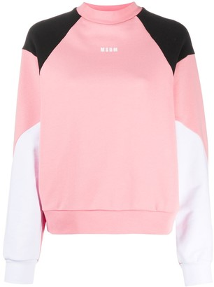 MSGM Logo-Print Colour-Block Sweatshirt