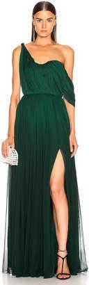 Oscar de la Renta Drape Gown in Basil | FWRD