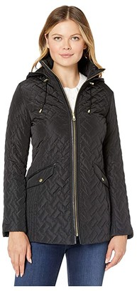 Cole Haan Quilted Barn Jacket (Black) Women's Coat