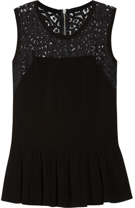 Rebecca Taylor Crepe and lace peplum top