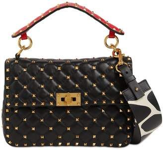 Valentino SPIKE LEATHER BAG W/ PRINTED STRAP