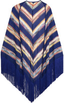 Missoni Fringed Crochet-knit Wrap - Blue