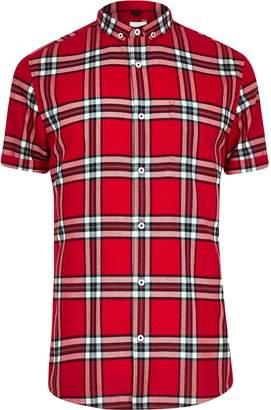 River Island Mens Big and Tall Red check short sleeve shirt