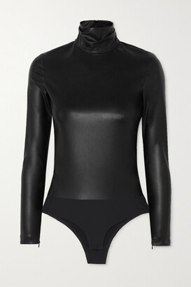 Alexander Wang Faux Stretch-leather Turtleneck Bodysuit - Black