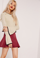 Missguided Tipped Flared Sleeve Crop Sweater Nude
