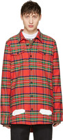 Off-White Red Check Diagonal Spray Shirt