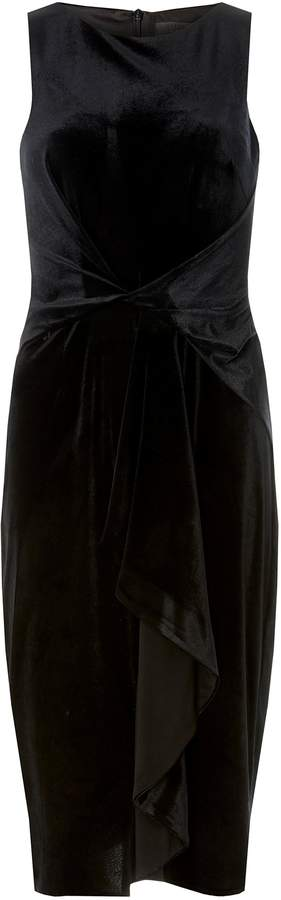 Dorothy Perkins Womens **Luxe Black Velour Frill Bodycon Dress